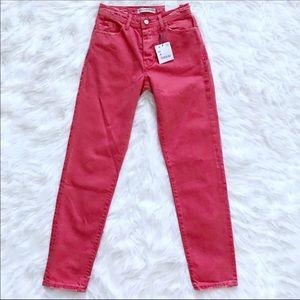 Zara Jeans high waist mom Red distressed size 00.